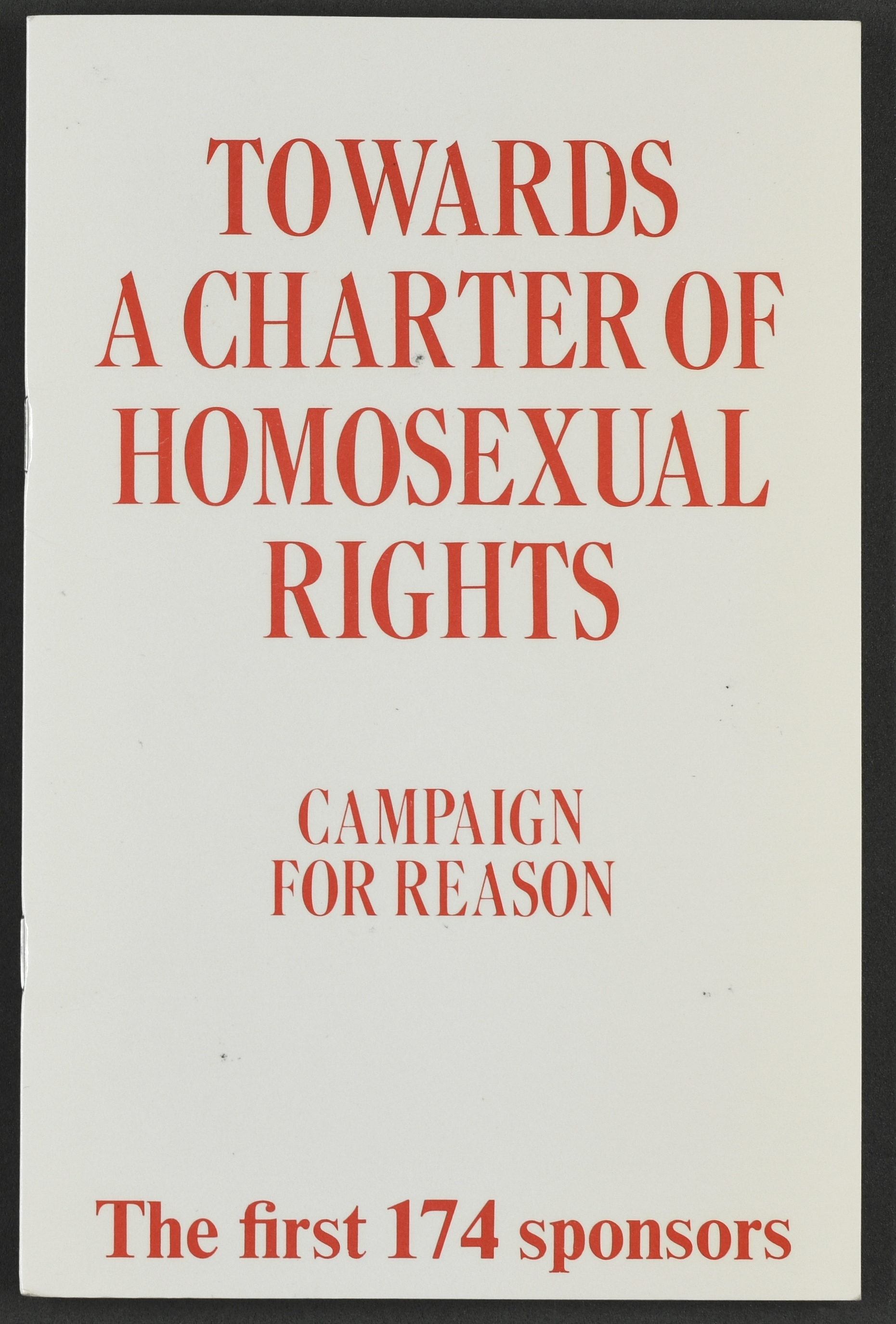 'Towards a Charter of Homosexual Rights: Campaign for Reason' pamphlet