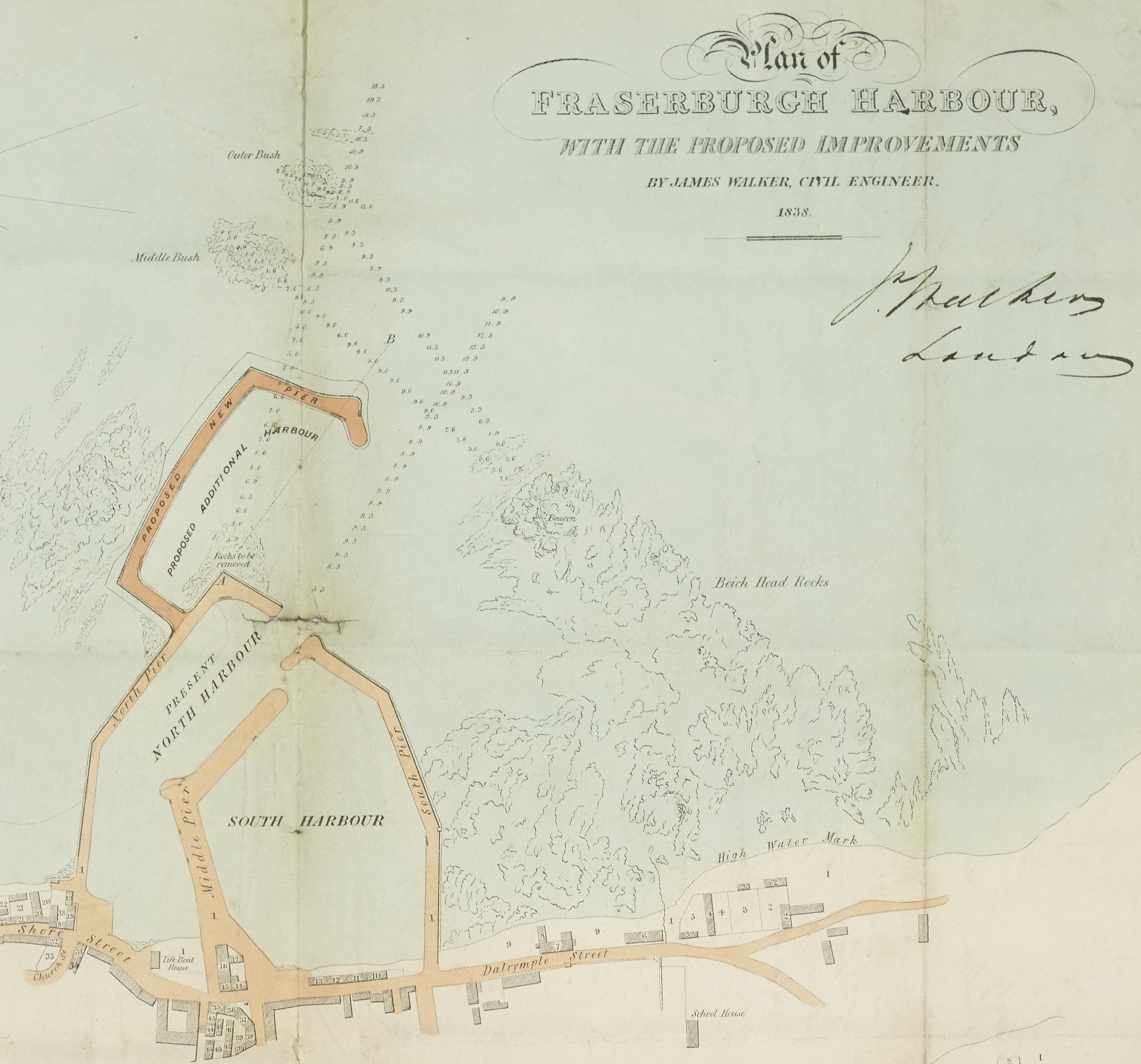 Detail of a plan of Fraserburgh Harbour showing proposed improvements