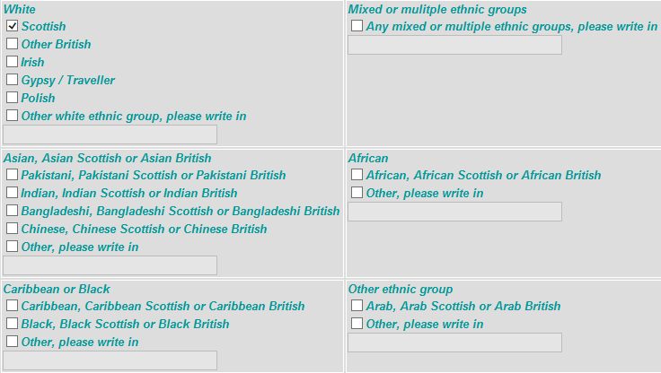 Image showing all the ethnicity options on a Registrars screen