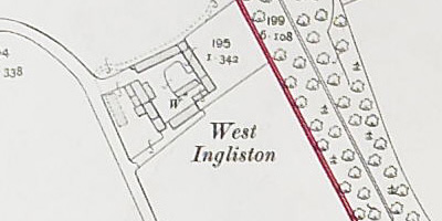Detail of plan showing farm at West Ingliston, National Records of Scotland, IRS119/41