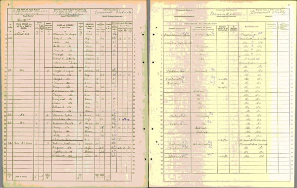 Image of a page from the 1911 census for Eyemouth in Berwickshire
