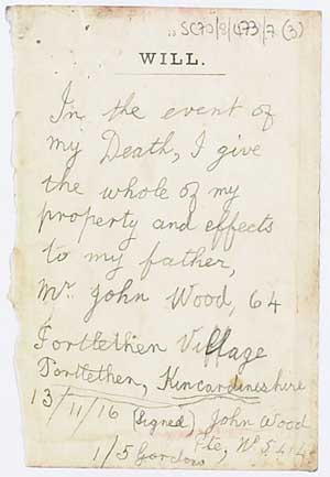 Will of Private John Wood, 1/5th Gordon Highlanders, 1916 (SC70/8/473/7)