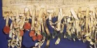 image showing part of the Declaration of Arbroath with some of the seals of earls and barons.